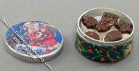 Dollhouse Scale Model Santa Themed Cookie Tin
