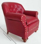 Miniature 1880 Walnut Red Club Chair for Dollhouses