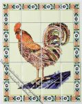 Dollhouse Scale Model Rooster Theme Decorative Wall Tiles