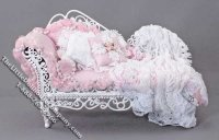 Miniature Pink & White Lace Chaise Lounge by Serena Johnson