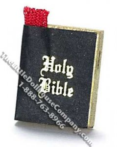 Miniature Bible with Bookmark for Dollhouses