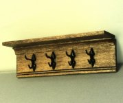 Miniature Four Double Hook Hat and Coat Rack for Dollhouses