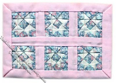 Miniature Pink Star Baby Quilt for Dollhouses