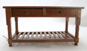 Dollhouse Scale Model Walnut Preparation Table