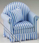 Miniature Blue/White Striped Chair w/Pillow for Dollhouses