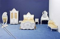 Miniature 7 Piece White Bedroom Set for Dollhouses