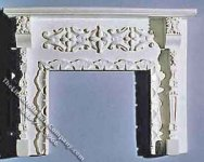 White Ornate Dollhouse Fireplace