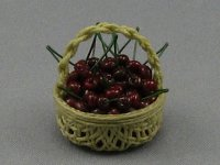Dollhouse Scale Model Round Basket with Cherries