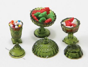 Miniature Candy Dishes with Candy For Dollhouses