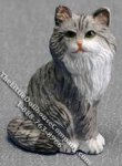 Dollhouse Scale Model Sitting Gray Persian Cat