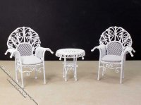 Miniature White Metal Furniture Set for Dollhouses