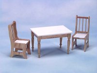 Table and Two Chairs, Oak and White