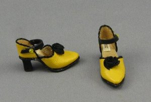 Yellow & Black Heels with Ankle Strap by Judith Blondell
