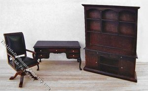Miniature Mahogany Study Set for Dollhouses