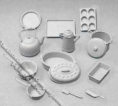 Miniature Gray Cookware Kit for Dollhouses