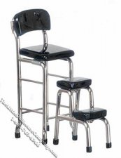 Miniature Black & Chrome Kitchen Stool w/Steps for Dollhouses