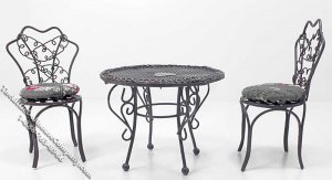 Miniature 3 Piece Patio Set for Dollhouses