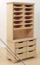 Miniature Unfinished Drawer/Sorter Display unit for Dollhouses