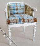 Miniature White Tub Chair w/Padded Seat for Dollhouses