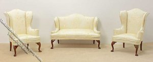 Miniature Pale Yellow Sofa & Two Wing Chairs Set for Dollhouses