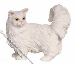 Miniature White Walking Cat for Dollhouses