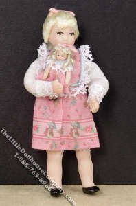 Blond Haired Girl in a Pink Dress with Doll by Patsy Thomas