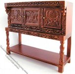 Miniature Walnut Tudor Credenza for Dollhouses