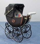 Miniature Elegant Brown Baby Pram by Heidi Ott for Dollhouses