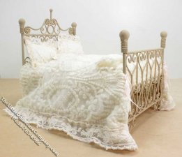 Miniature Dressed Tan Bed by Danielle Designs