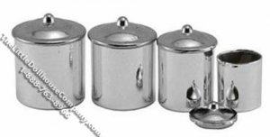 Dollhouse Scale Model Chrome Set of 4 Canisters