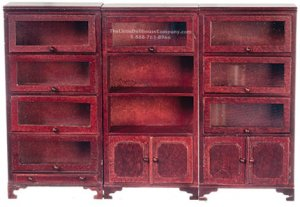 Miniature Mahogany Lawyer Bookcases For Dollhouses