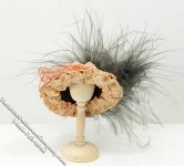 Miniature Ladies Hat w/Flower and Feather for Dollhouses