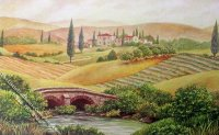 Tuscan Landscape Scene Miniature Mural for Dollhouses