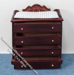 Miniature Mahogany Changing Dresser with Blue Pad for Dollhouses