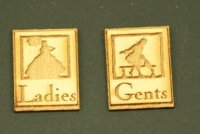 "Dollhouse Miniature Wood Plaques - ""Ladies and Gents"""