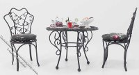 Miniature 3 Piece Dressed Patio Set for Dollhouses