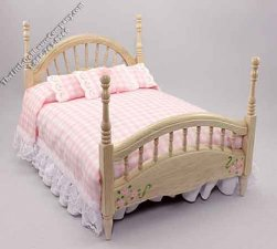 Dollhouse Miniature Four Post Bed