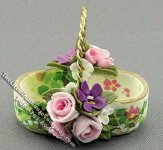 Dollhouse Miniature Basket with flower pattern