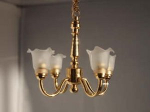Dollhouse Scale Model Battery Operated 4 Arm Brass Chandelier