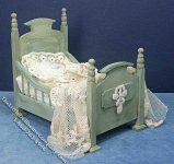 Miniature Dressed Green Wood Bed by Danielle Designs