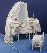 Miniature Dressed Makeup Table & Stool by Danielle Designs