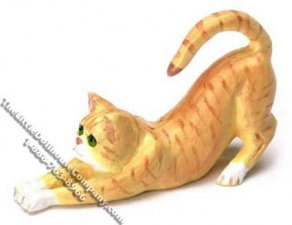 Dollhouse Scale Model Orange Cat Stretching Out