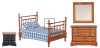 Dollhouse Miniature Bedroom 4pc Set - Walnut