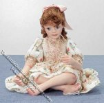 Red Haired Girl Doll Sitting Cross-legged for Dollhouses
