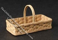 Miniature Rectangular Basket with Handle for Dollhouses