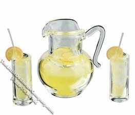 Miniature Pitcher of Lemonade with Two Glasses for Dollhouses