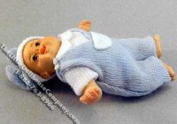 Miniature Baby Jimmy Doll in Blue for Dollhouses