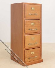 Miniature 4-Drawer Walnut Filing Cabinet for Dollhouses