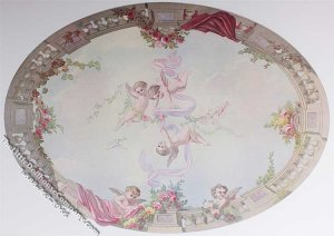 Miniature Oval Ceiling Sky Cupid & Roses Mural for Dollhouses