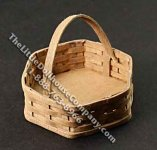 Miniature Large Six Sided Wooden Basket for Dollhouses